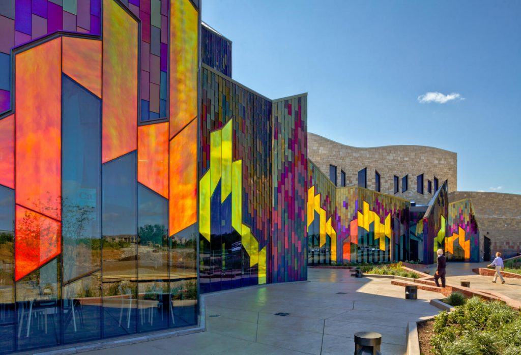 View of Prairie Fire's glass stained museum in Leawood, Kansas.